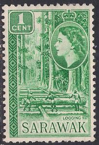 Sarawak 1955 - 59 QE2 1 ct Green Logging SG 188 ( R1209 )