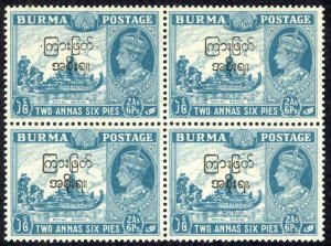 Burma Sc# 76 MNH Block/4 overprint 1947 2a-6p King George VI