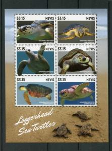 Nevis Reptiles Stamps 2015 MNH Loggerhead Sea Turtles Turtle Fauna 6v M/S