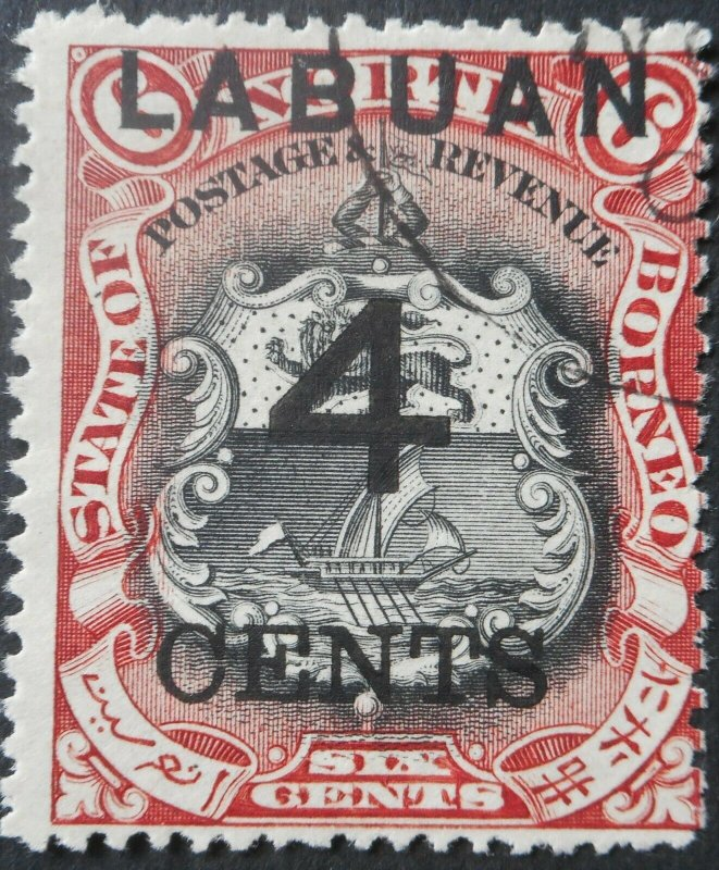 Labuan 1899 Four Cents opt on 6 Cents SG 103 used