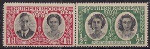 Southern Rhodesia 1947 KGV1 Royal Visit Set Umm SG 62 - 63  ( L238 )