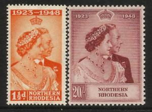 Northern Rhodesia 1948 Royal Silver Wedding set MNH