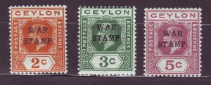 J23620 JLstamps 1918 ceylon mlh #mr1-3 war tax ovpt,s