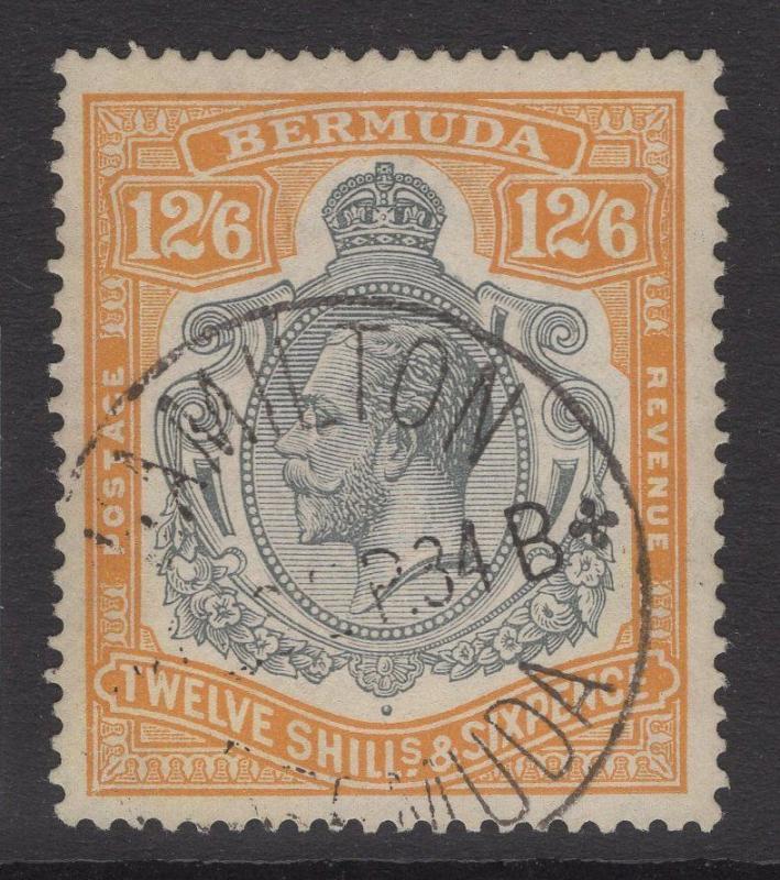 BERMUDA SG93 1932 12/6 GREY & ORANGE FINE USED