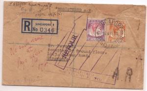 Malaya Singapore KGVI 40c + 2c registered cover returned to sender (bae)