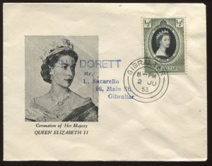 Gibraltar QEII 1953 Coronation cacheted First Day Cover