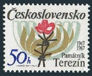 Czechoslovakia 2670 block/4,MNH.Theresienstadt Memorial for victims of Nazi,1987