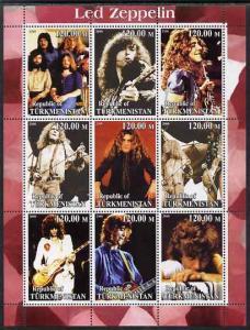 Turkmenistan 2000 Led Zeppelin perf sheetlet containing c...