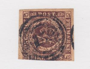 Denmark Sc 2, 1853 black brown FIRE RBS, Third Printing, rare 159 cancel, Cert