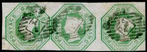 SG54, 1s pale green, CUT SQUARE, FINE USED. Cat £1000. STRIP OF 3.