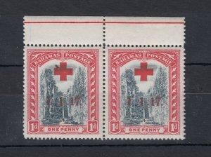 Bahamas 1917 1d Red Cross 1.1.17 O/P Pair SG90 MNH J7154