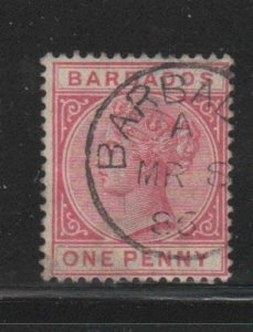 BARBADOS #61  1882  1p   QUEEN VICTORIA    F-VF  USED   k
