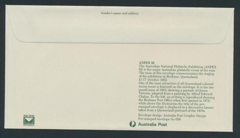 Australia PrePaid Envelope 1982 ANPEX ( Philatelic Exhibition) Queensland