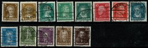 GERMANY 1926-27 COMPLETE SET of 13 STAMPS USED (VFU) SG 400-412 P.14 XF/SUPERB