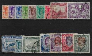 BURMA SG18b/33 1938-40 DEFINITIVE SET USED