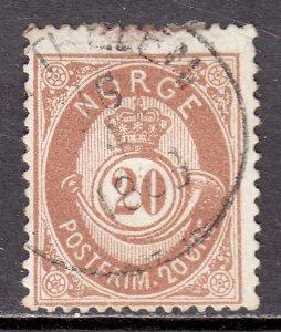 Norway - Scott #43 - Used - Toning, pencil/rev. - SCV $22.50