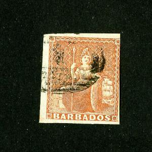 Barbados Stamps # 4 VF used very clean Scott Value $325.00