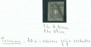 74364 - ANTICHI STATI: TOSCANA - Sasso 20 c Azzurro Grigio Verdastro DIENA OLIVA
