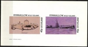 {E151} Eynhallow Scotland Ships Submarines Sh.2 Imperf. MNH Cinderella !!