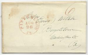 US Stampless Cover Folded Letter Red Pittsburg, PA CDS August 26, 1842