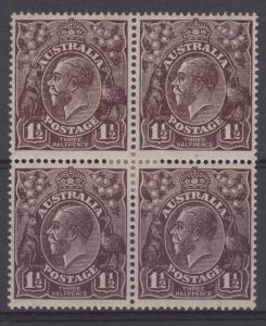 Australia Sc#63 SG51a ACSC84aa Thin Paper Black Brown VF MH Block of 4