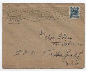 1927 Palestine 3m blue overprint printed matter cover to USA [y3125]