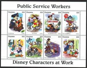 Guyana. 1995. Small sheet 5097-5104. Disney, animation, public service. MNH.