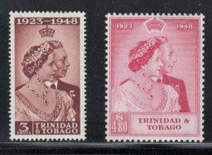 Trinidad and Tobago 1948 Silver Wedding Omnibus Scott # 64 - 65 MH
