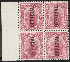 NEW ZEALAND 1910 OFFICIAL DOMINION 1D BLOCK */** WMK NZ STAR LITHO ON BACK