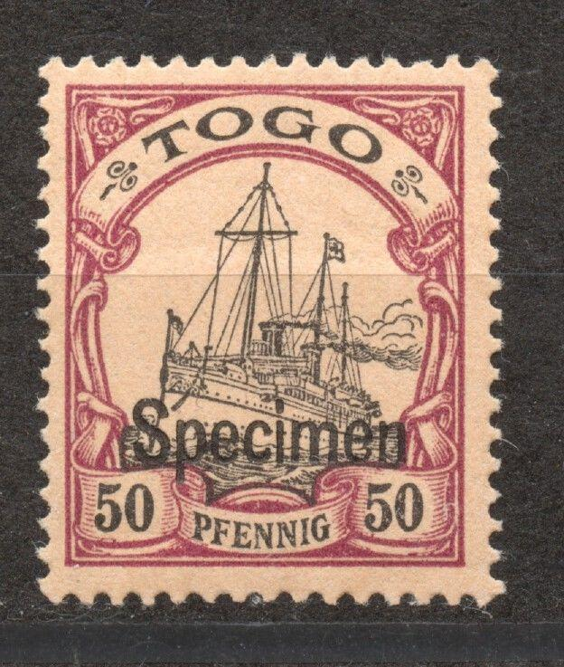 Togo 1900 Yacht 50 Pf. SPECIMEN overprint, mint, hinged