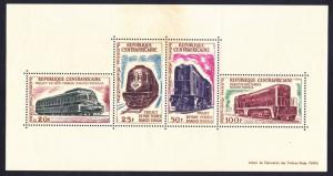 Central African Republic C16a MNH 1963 Various Train Locomotives Mini Sheet of 4