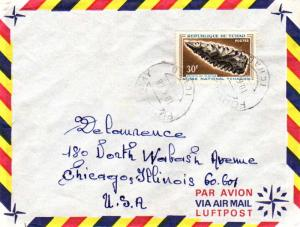 Chad 30F Prehistoric Tools 1968 Fort-Lamy, Tchad Airmail to Chicago, Ill.  EU...