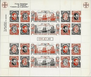 Canada 1980 UPM Jacques Cartier   Parrot Cinderella Perf. SHEET VF-NH Scarce