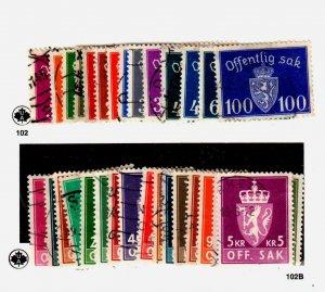 Norway #O33 to O43, O65 to O76, O78 to O82