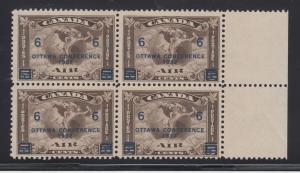 Canada Sc C4 MLH.  1932 6c Ottawa Conference, sheet margin block