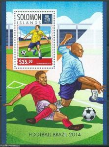 SOLOMON ISLANDS 2014 WORLD CUP SOCCER BRAZIL 2014 SOUVENIR SHEET  MINT NH
