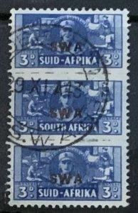 SOUTH WEST AFRICA 1943-4 WAR EFFORT BANTAMS 3d  SG127 FINE USED TRIPLE CAT £29