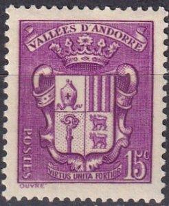 Andorra (Fr) #70 F-VF Unused CV $2.75  (Z1763)