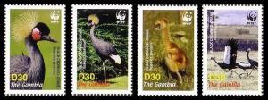 Gambia Birds WWF Black Crowned Crane 4v SG#4920-4923 MI#5631-5634 SC#3014 a-d