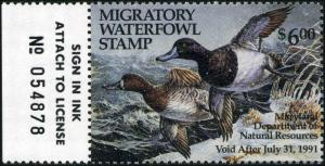 MARYLAND #17 1990 STATE DUCK STAMP LESSER SCAUP by Carla Huber
