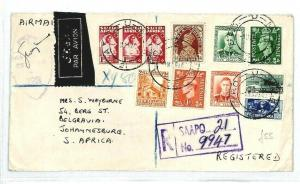 GB S AFRICA N ZEALAND  *SAAPO* Franking REGISTERED{samwells-covers}1945 WW2 CW21