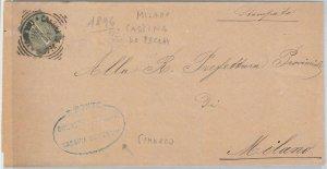 REGNO - STORIA POSTALE: BUSTA con annullo TONDOQUADRO di CASCINA de PECCHI 1896