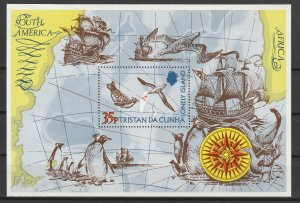 Tristan da Cunha MH S/S Penguins & Sailing Ship Lonely Island