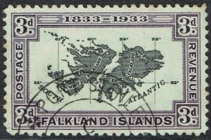 FALKLAND ISLANDS 1933 CENTENARY 3D MAP USED