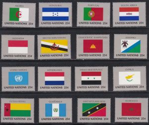 United Nations - New York #  554-569, Member Nations Flags, NH, 1/2 Cat.