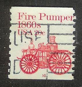 US #1908 Fire Pumper Used PNC Single plate #10