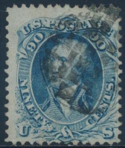 #72 90¢ 1861 F-VF USED WITH FANCY CANCEL CV $600+ AU540
