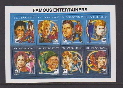 ST.VINCENT STAMPS MNH OF FAMOUS ENTERTAINERS S/S .LOT#446