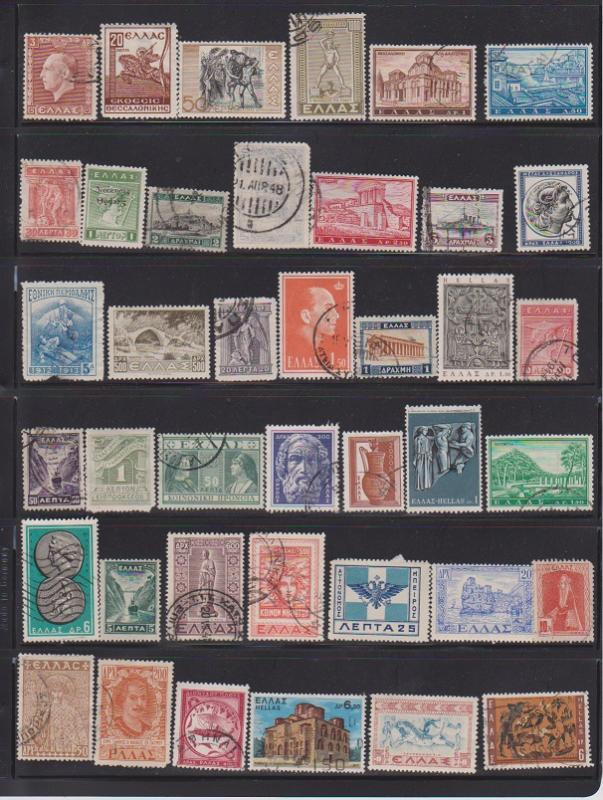 LOT OF DIFFERENT STAMPS OF GREECE  USED (40) LOT#140