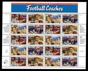 # 3143-3146 Legendary Football Coaches 32¢ Sheet  MNH